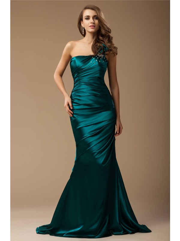 Hot Sale Mermaid One Shoulder Sleeveless Long Elastic Woven Satin Dress