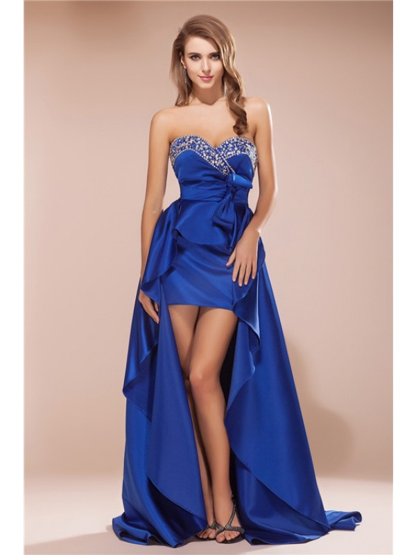 Hot Sale A-Line Sweetheart Sleeveless High Low Satin Dress