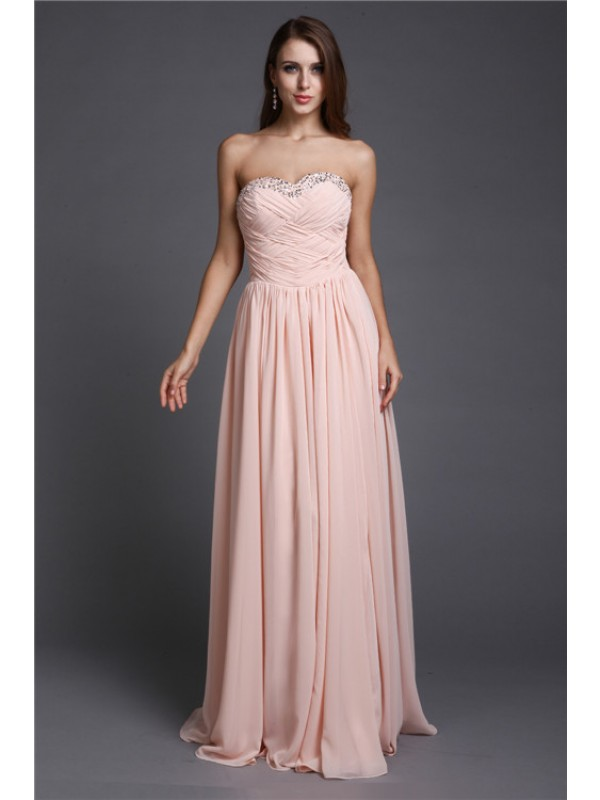 Hot Sale A-Line Sweetheart Sleeveless Long Chiffon Dress