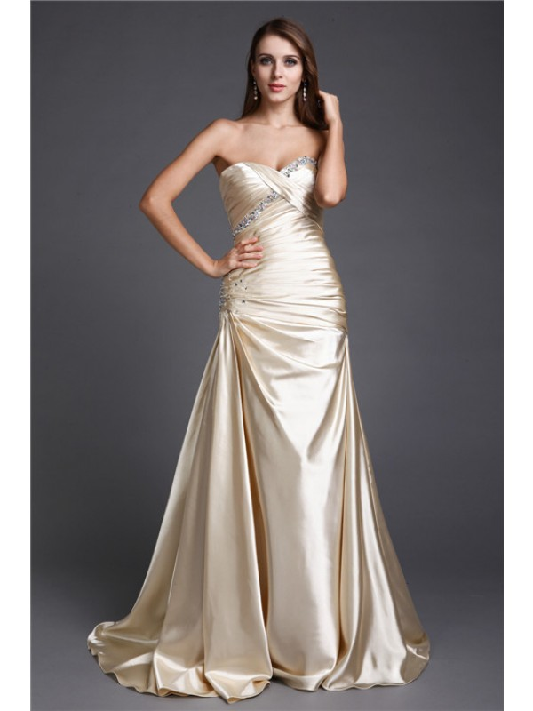 Hot Sale A-Line Sweetheart Sleeveless Long Elastic Woven Satin Dress