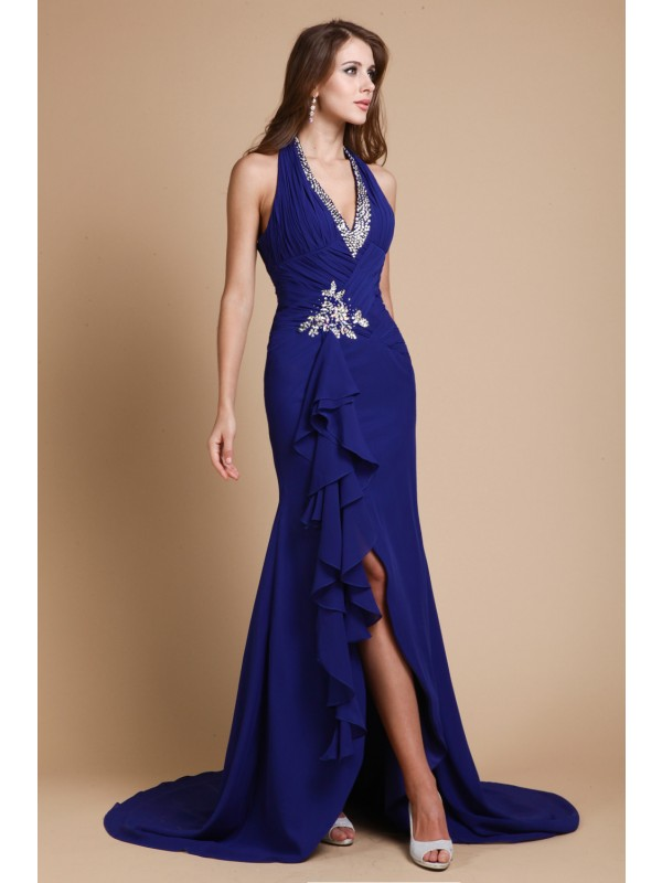 Hot Sale Mermaid V-neck Long Sleeveless Chiffon Dress