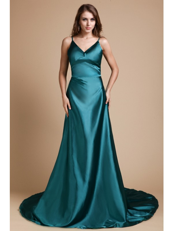 Hot Sale A-Line Spaghetti Straps Sleeveless Long Elastic Woven Satin Dress