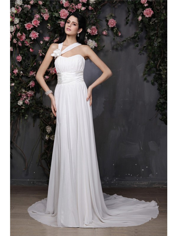 Beautiful Sheath Halter Sleeveless Long Chiffon Wedding Dress