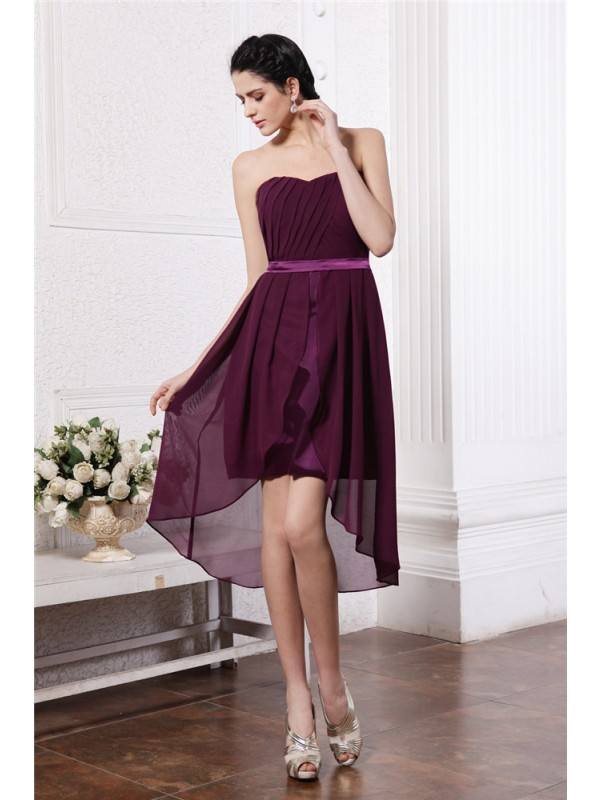 Hot Sale Sheath Strapless Sleeveless Sash High Low Chiffon Cocktail Dress