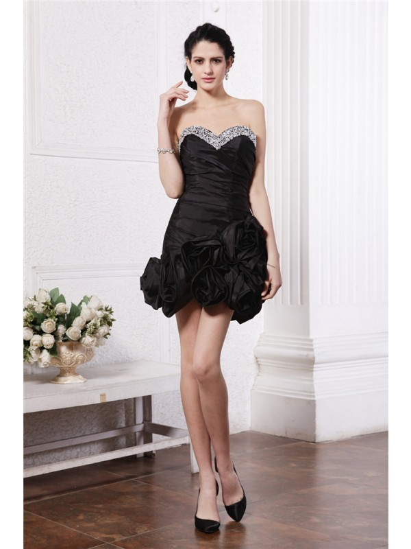 Hot Sale Sheath Sweetheart Sleeveless Short Taffeta Cocktail Dress