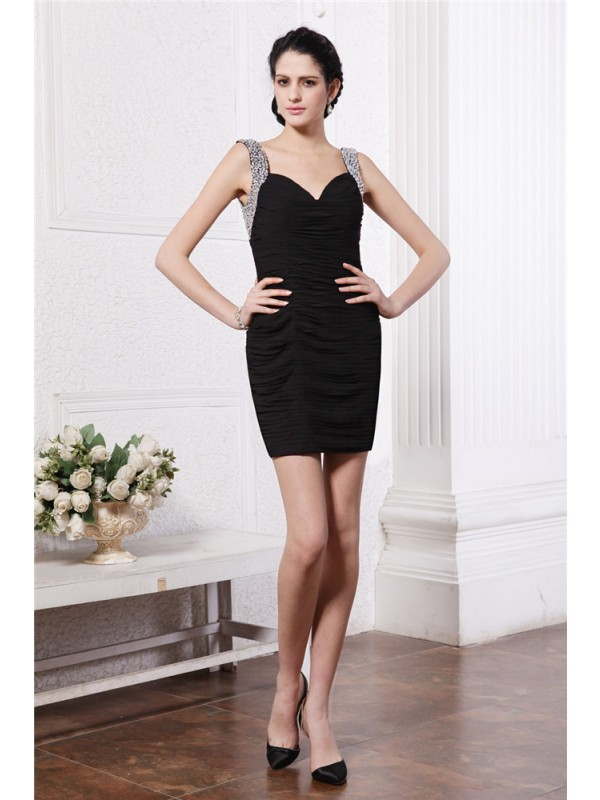 Hot Sale Sheath Straps Sleeveless Short Chiffon Cocktail Dress