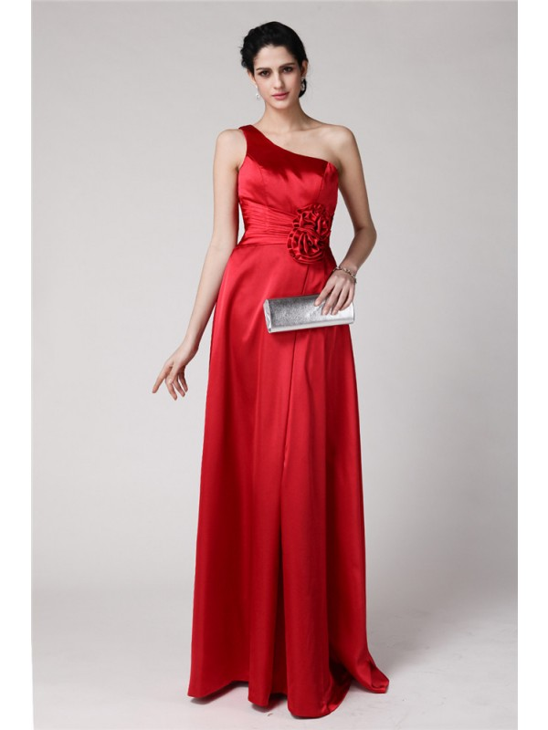 Gorgeous Sheath One-Shoulder Sleeveless Long Elastic Woven Satin Bridesmaid Dress
