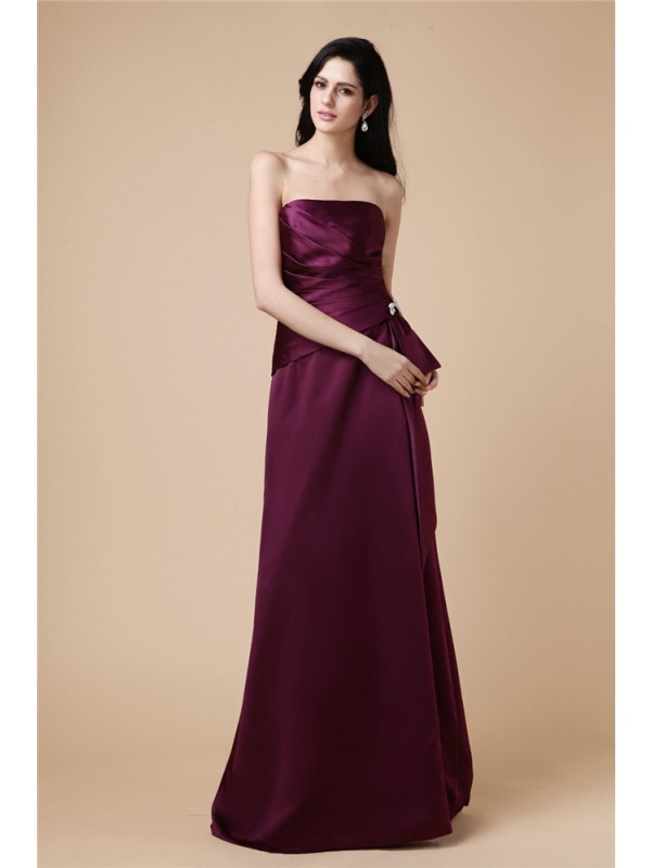 Hot Sale A-Line Strapless Sleeveless Long Satin Dress
