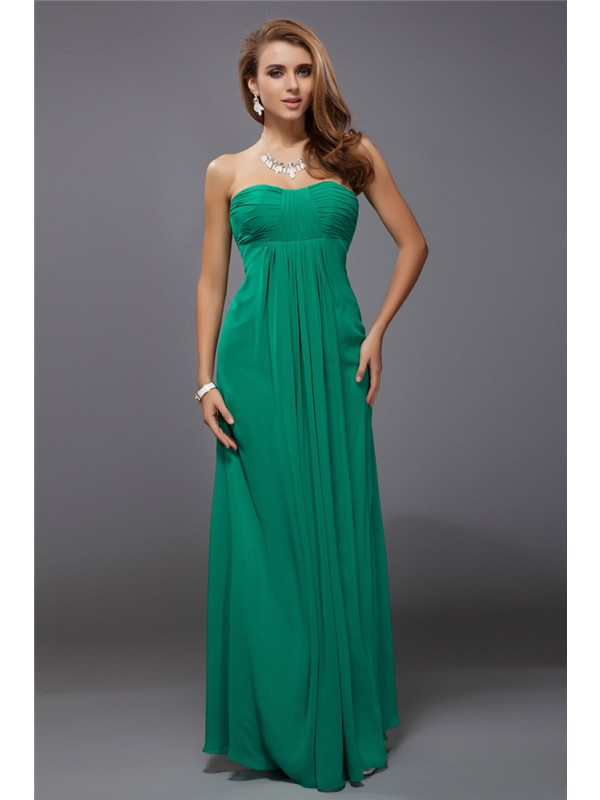 Gorgeous Sheath Strapless Sleeveless Long Chiffon Bridesmaid Dress
