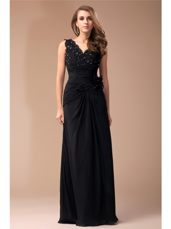 Modest Sheath V-neck Sleeveless Long Lace Chiffon Dress