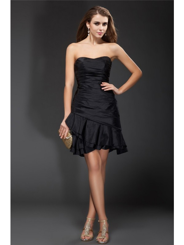 Hot Sale A-Line Strapless Sleeveless Short Taffeta Cocktail Dress