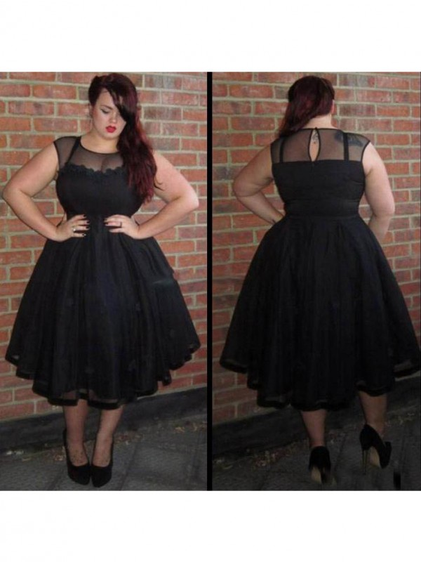 Charming A-Line Scoop Sleeveless Ankle-Length Tulle Plus Size Dress