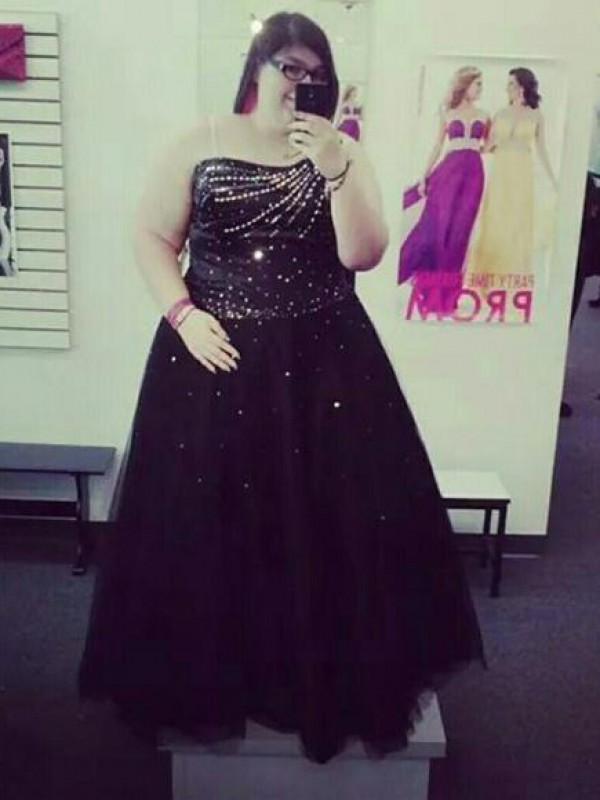 Classical Ball Gown One-Shoulder Sleeveless Floor-Length Tulle Plus Size Dress
