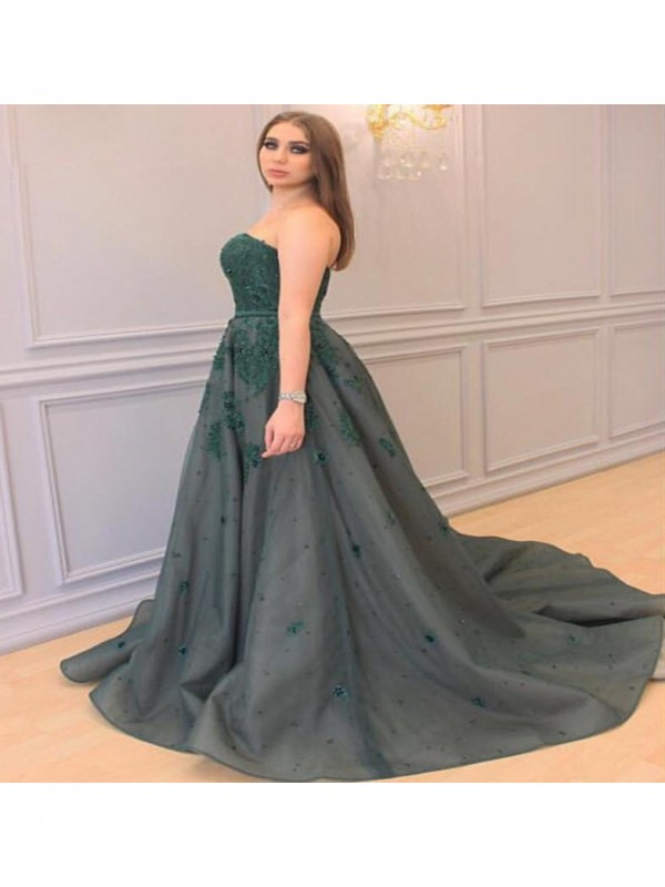 Classical A-Line Sweetheart Sleeveless Court Train Tulle Plus Size Dress