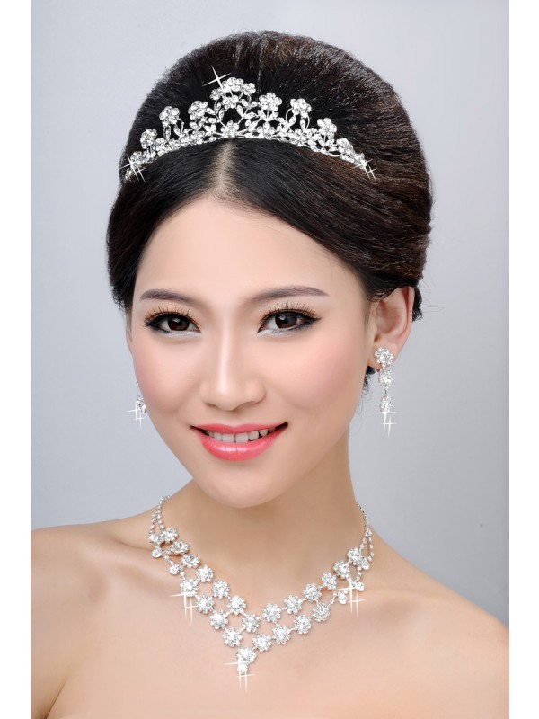 Elegant Alloy Clear Flower Wedding Headpiece Necklaces Earrings Set