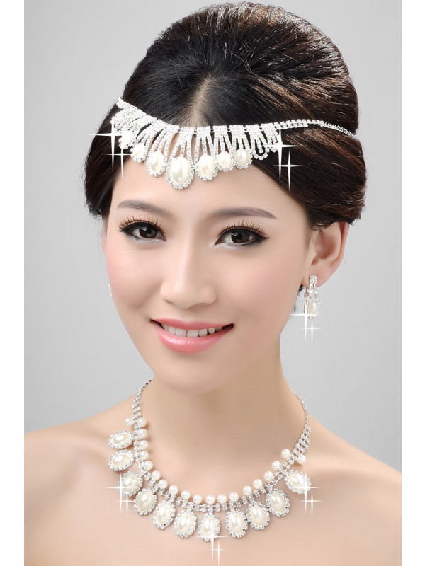 Elegant Alloy Clear Wedding Headpiece Necklaces Earrings Set