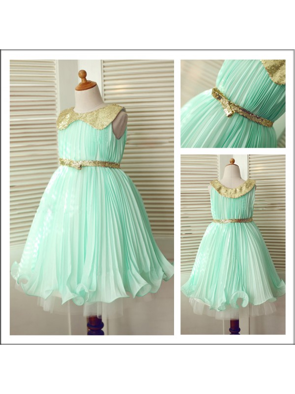 Beautiful A-Line Scoop Sleeveless Tea-length Chiffon Flower Girl Dress