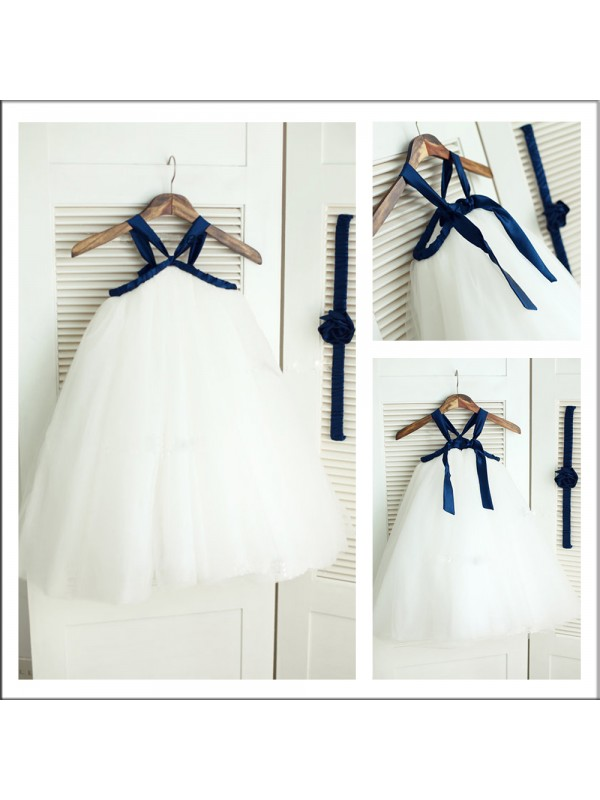 Affordable A-Line Spaghetti Straps Sleeveless Tea-length Tulle Flower Girl Dress