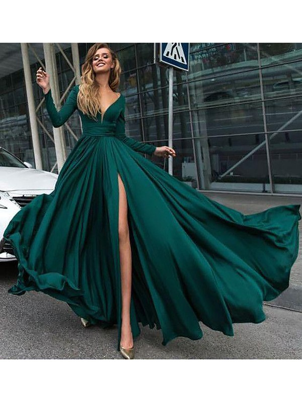 Fashion A-Line V-Neck Long Sleeves Floor-Length Satin Chiffon Dress
