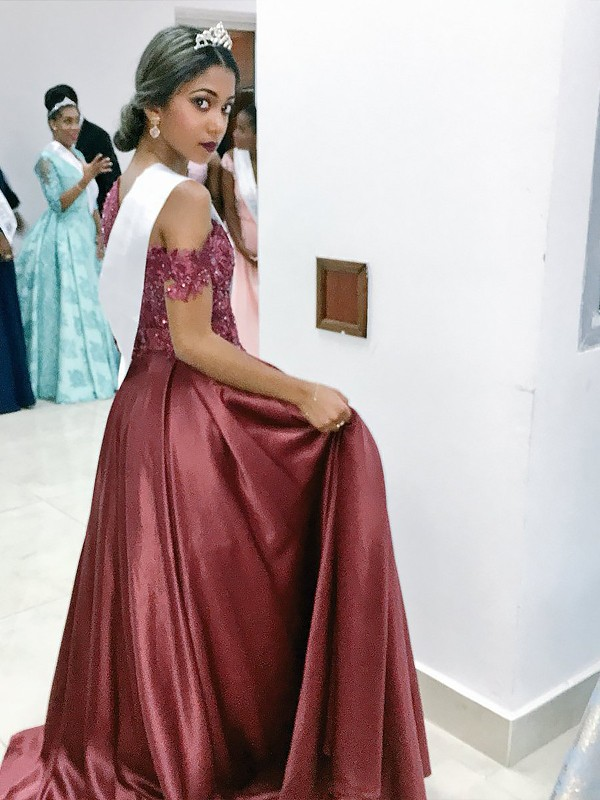 Fashion A-Line Sleeveless Off-the-Shoulder Satin Floor-Length Dress