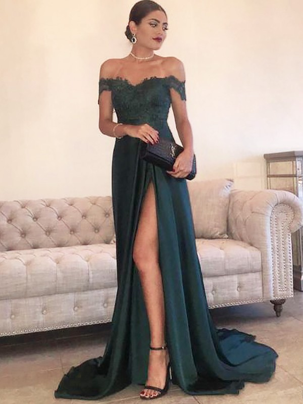 Unique A-Line Off-the-Shoulder Sleeveless Sweep/Brush Train Lace Satin Dress