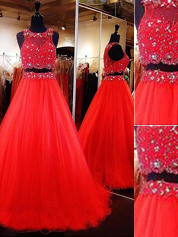 Perfect A-Line Scoop Sleeveless Floor-Length Tulle Two Piece Dress