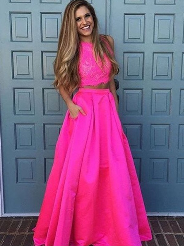 Perfect A-Line Scoop Sleeveless Floor-Length Lace Satin Two Piece Dress