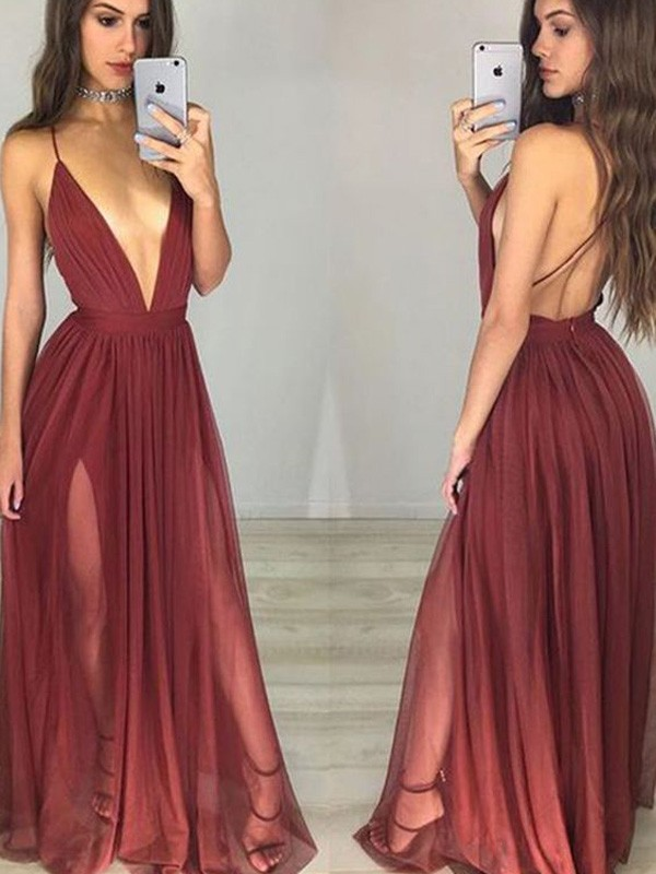 Perfect A-Line Sleeveless Spaghetti Straps Chiffon Floor-Length Dress