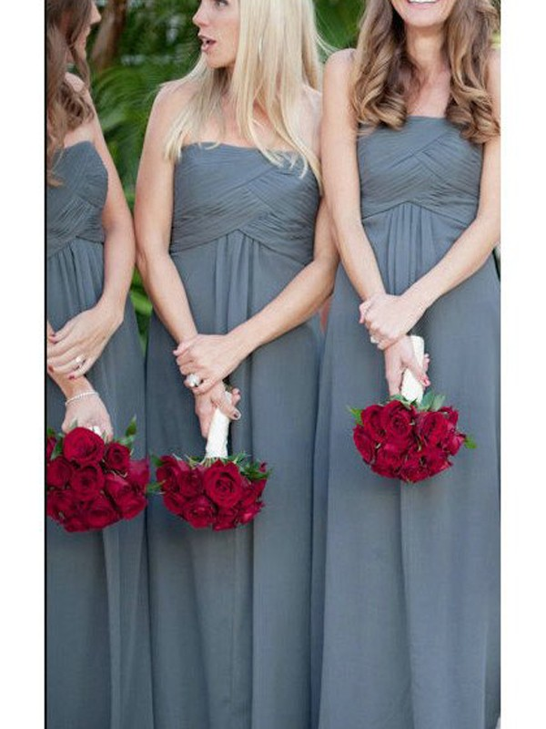 Cheap A-Line Sleeveless Strapless Floor-Length Chiffon Bridesmaid Dress