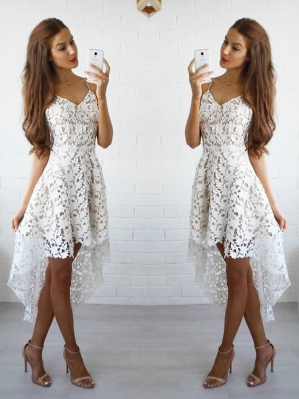 Discount A-Line Sleeveless Spaghetti Straps Lace Short/Mini Dress