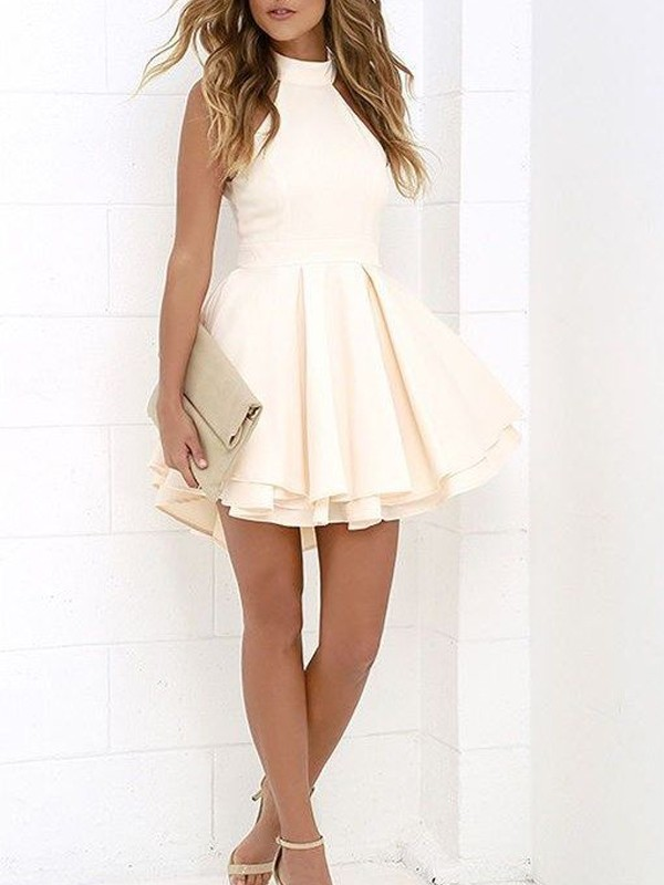 Discount A-Line Sleeveless Halter Satin Short/Mini Dress