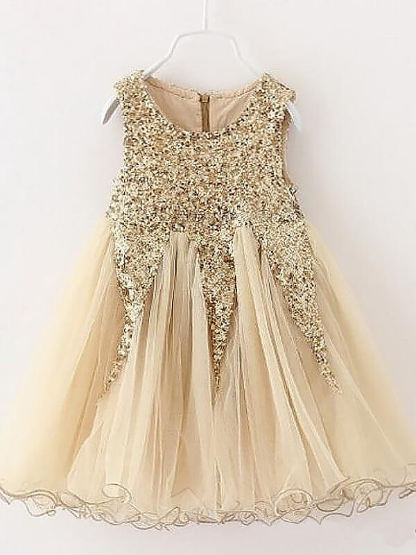 Chic A-Line Sleeveless Jewel Sequins Tulle Short/Mini Flower Girl Dress