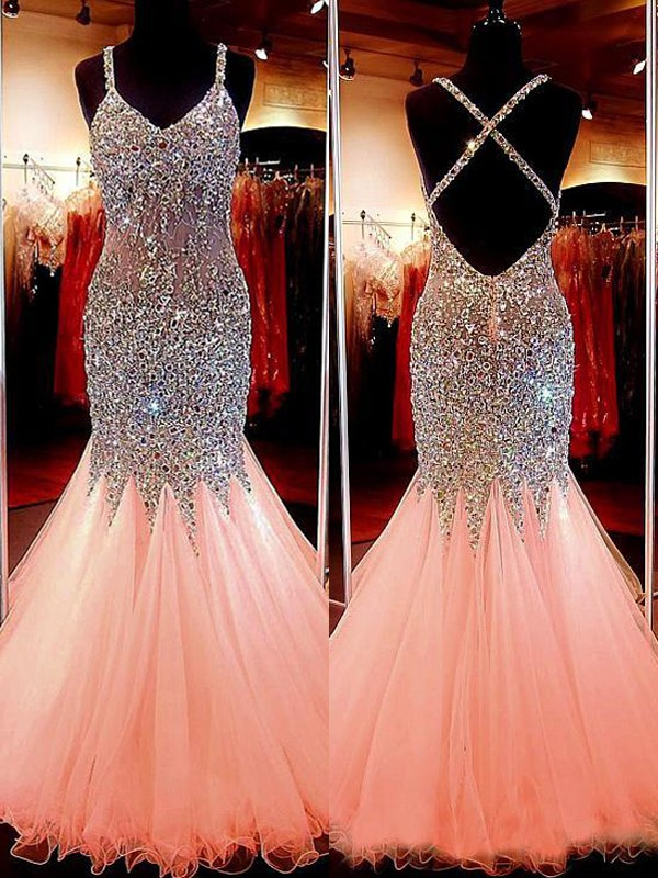 Stylish Mermaid Sleeveless V-neck Tulle Sequin Floor-Length Dress