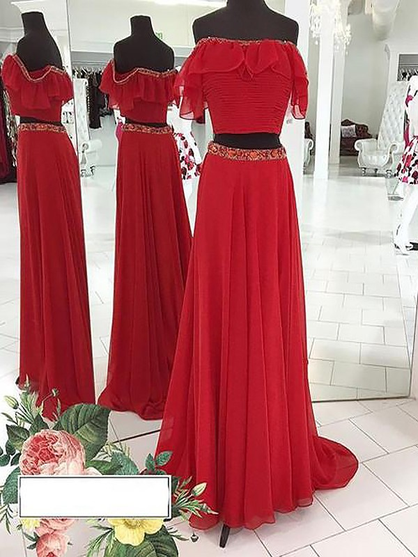 Stylish A-Line Sleeveless Off-the-Shoulder Chiffon Floor-Length Two Piece Dress