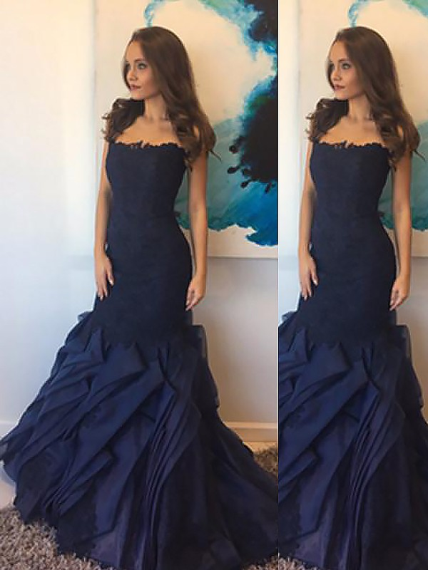 Fashion Mermaid Strapless Taffeta Lace Sleeveless Floor-Length Dress