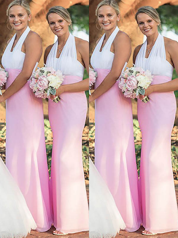 Exquisite Sheath Halter Chiffon Sleeveless Floor-Length Bridesmaid Dress
