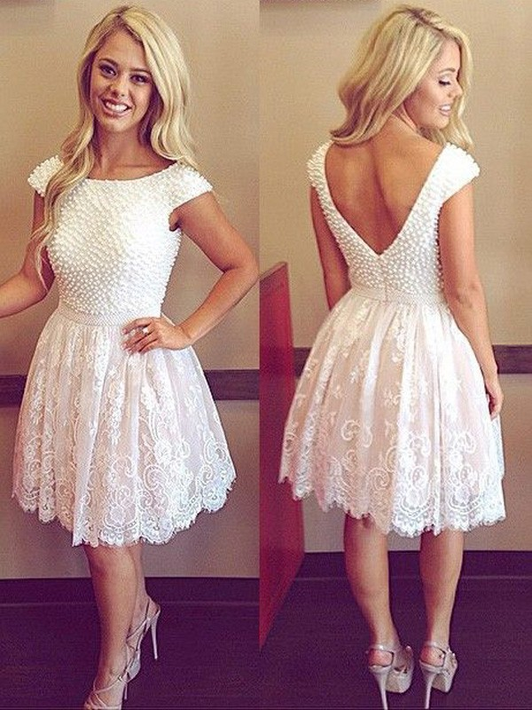 Discount A-Line Scoop Short Sleeves Lace Short/Mini Dress