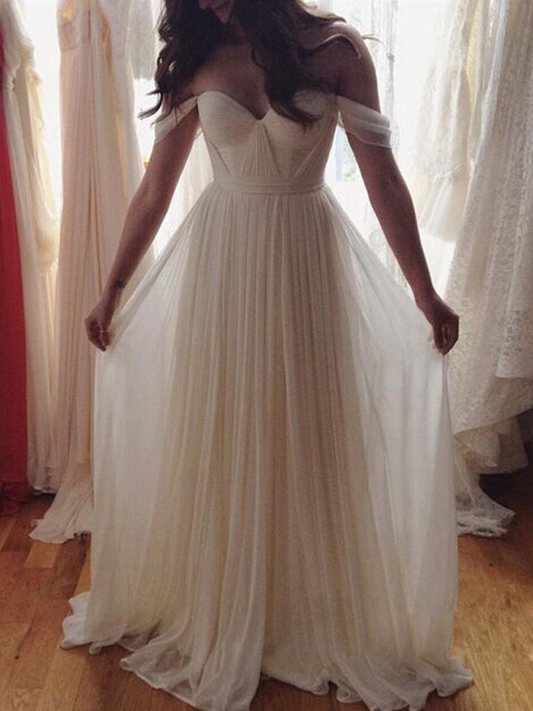 Stunning A-Line Sleeveless Off-the-Shoulder Floor-Length Chiffon Dress