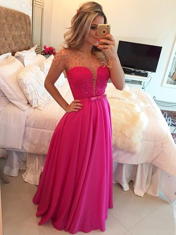 Stunning A-Line Scoop Short Sleeves Floor-Length Chiffon Dress