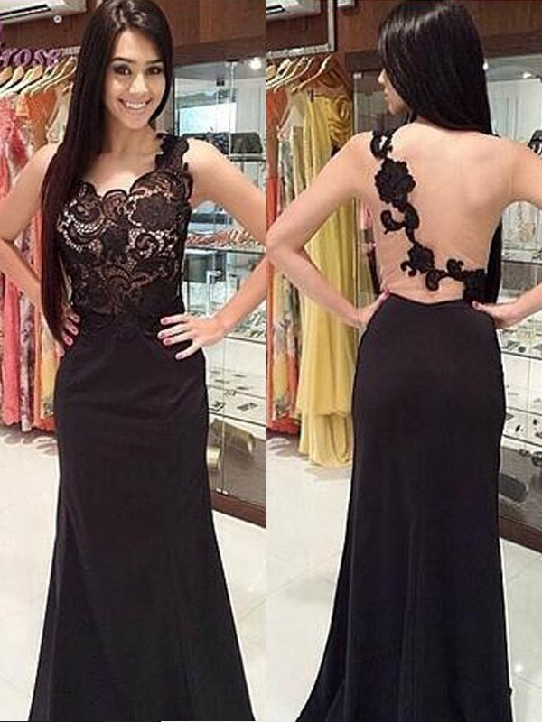 Stunning Sheath Scoop Sleeveless Lace Floor-Length Chiffon Dress