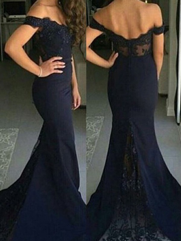Stunning Mermaid Off-the-Shoulder Sleeveless Lace Sweep/Brush Train Satin Dress