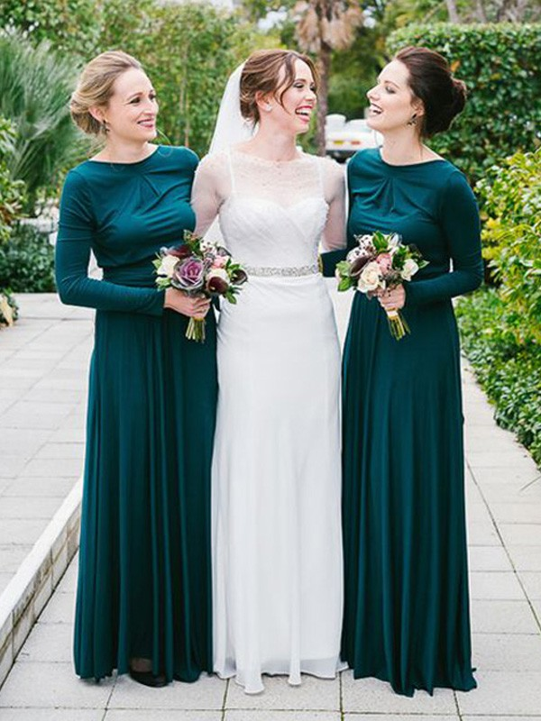 Discount A-Line Scoop Floor-Length Long Sleeves Jersey Bridesmaid Dress