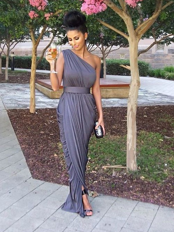 Affordable Sheath One-Shoulder Sleeveless Floor-Length Jersey Bridesmaid Dress