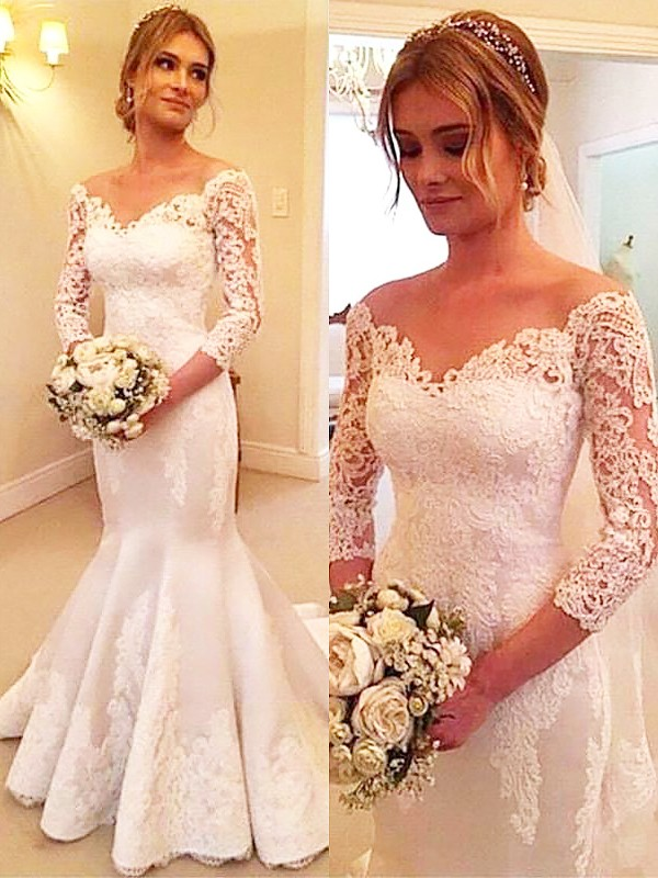 Fashion Mermaid 3/4 Sleeves Satin Off-the-Shoulder Lace Court Train Wedding Dress