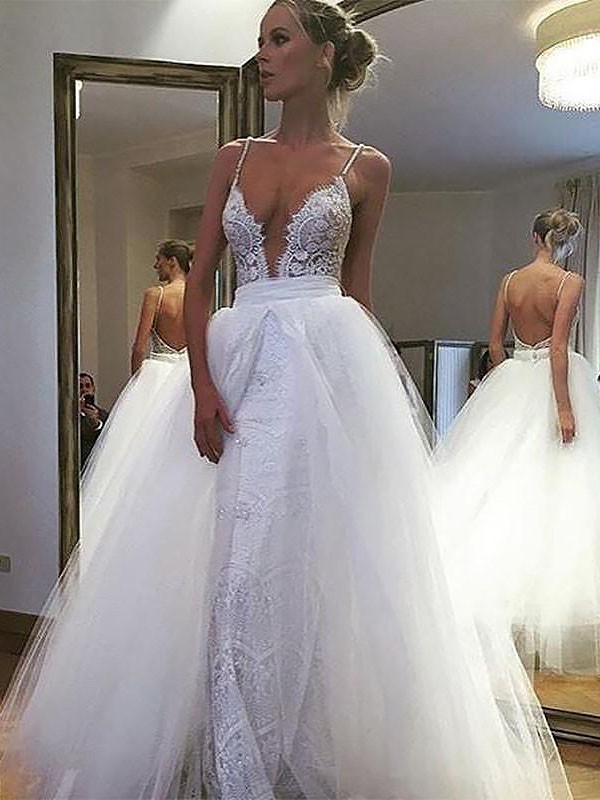 Fashion A-Line Tulle Lace Spaghetti Straps Sleeveless Floor-Length Wedding Dress