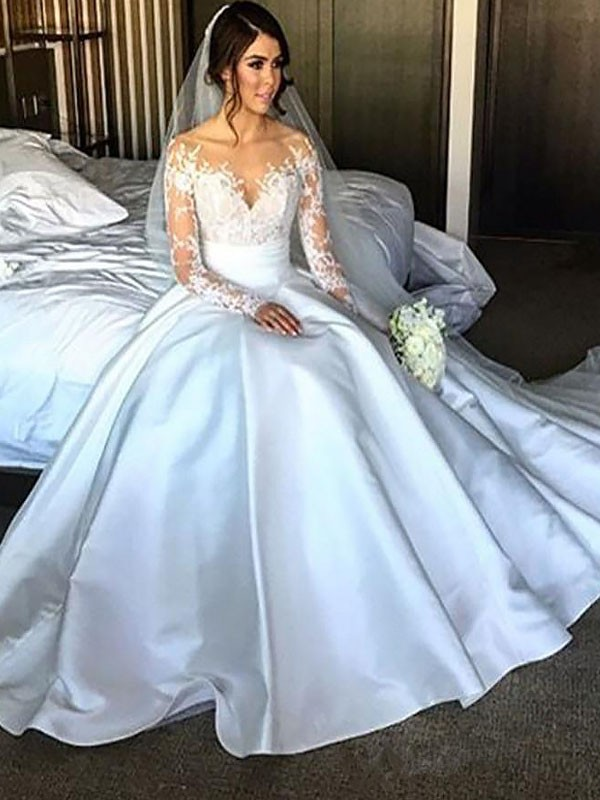 Fashion Ball Gown Long Sleeves Satin Court Train Wedding Dress
