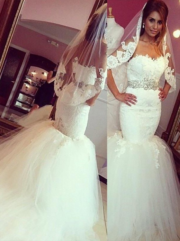 Exquisite Mermaid Lace Tulle Sweetheart Sleeveless Court Train Wedding Dress