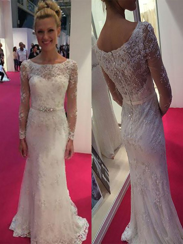Exquisite Sheath Scoop Long Sleeves Lace Chiffon Sweep/Brush Train Wedding Dress