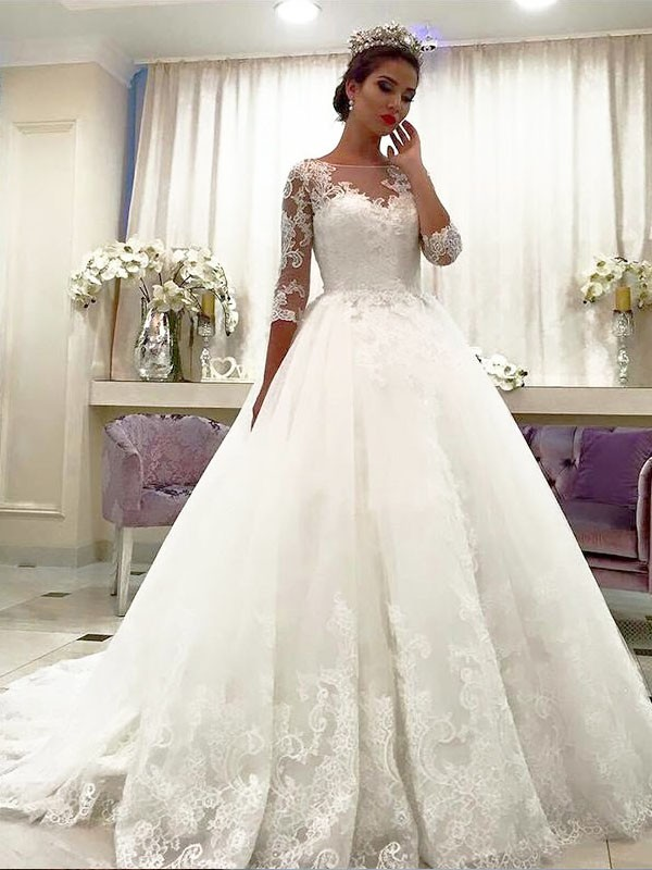 Exquisite Ball Gown Tulle 3/4 Sleeves Bateau Lace Court Train Wedding Dress