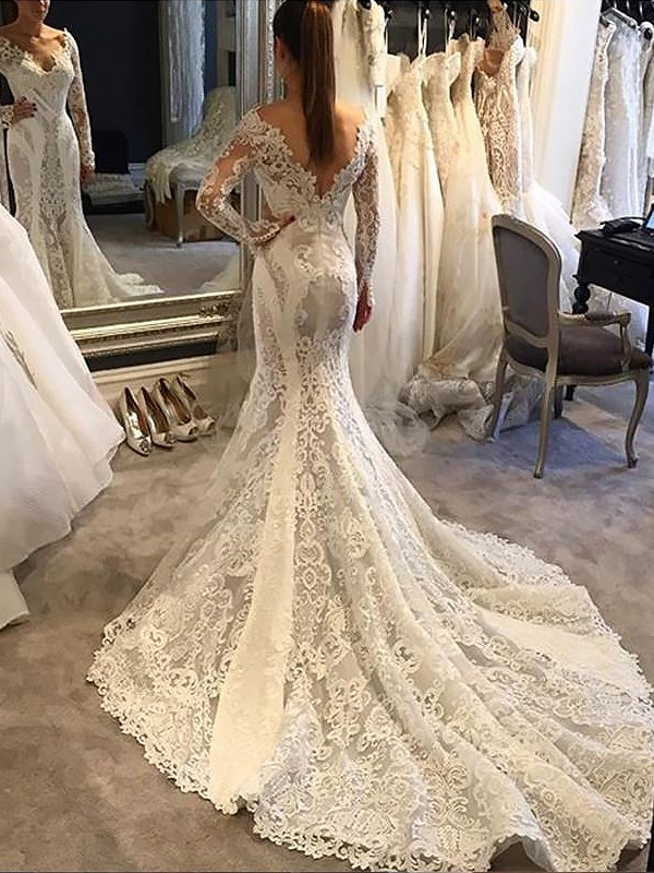 Exquisite Mermaid V-neck Long Sleeves Court Train Lace Wedding Dress